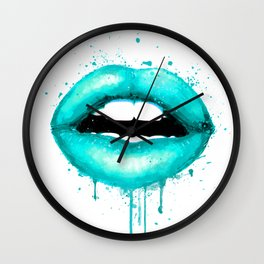 Turquoise Lips Art Makeup Decor Watercolor Print Kiss Love Sexy Girl Fashion Poster Lipstick Wall Clock