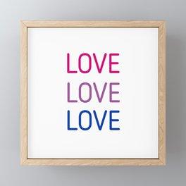 LOVE LOVE LOVE - Bisexual pride flag colors Framed Mini Art Print