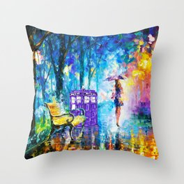 Little Tardis With The Girl Throw Pillow