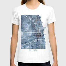 Chicago Map Blue Watercolor by Zouzounio Art T-shirt