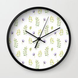 Modern lavender green hand painted watercolor floral Wall Clock
