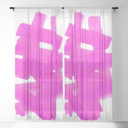 Superwatercolor Pink Sheer Curtain