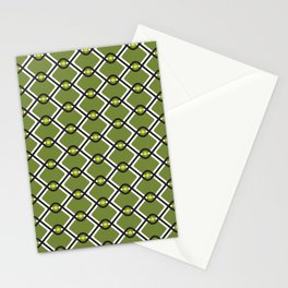 1960's Inspired Green, Yellow, Black and White Pattern Stationery Cards