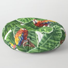 tropical leaves macaw pattern Floor Pillow