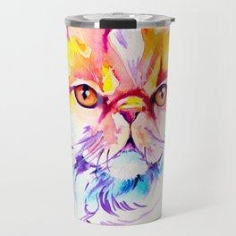 Persian Cat Watercolor Painting Travel Mug