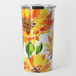 Vibrant Sunflowers - Colorful southwestern watercolor art Travel Mug