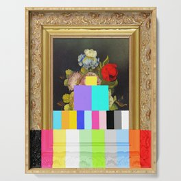 A Painting of Flowers With Color Bars Serving Tray
