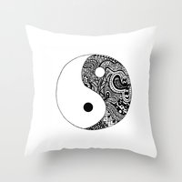 yin yang Throw Pillows featuring Yin Yang by Jackie Papers