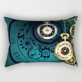 Clock with Gears on Green Background ( Steampunk ) Rectangular Pillow
