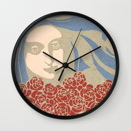 "Koloman (Kolo) Moser ""Woman's Head with Roses"" Wall Clock"