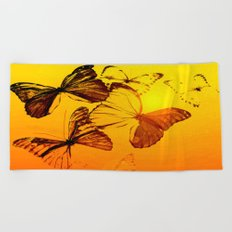 Fly fly butterfly! - Butterflies on a orange background with sunlight #society6 #buyart Beach Towel