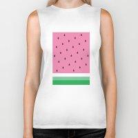 watermelon Biker Tanks featuring Watermelon by Anna Lindner