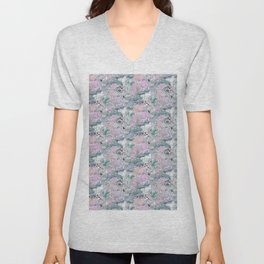 stamped with pond with flamingos and lotus flowers. Unisex V-Neck