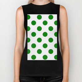 Large Polka Dots - Green on White Biker Tank