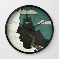 edward scissorhands Wall Clocks featuring Edward Scissorhands by Fontolia (Katie Blaker)