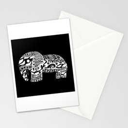 black elephant ecopop Stationery Cards