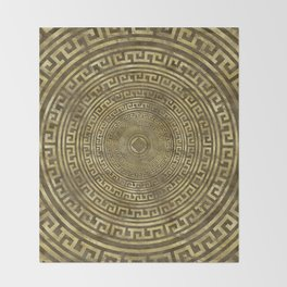 Circular Greek Meander Pattern - Greek Key Ornament Throw Blanket