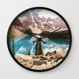 Moraine Lake III Banff Summer Mountain Reflection Wall Clock