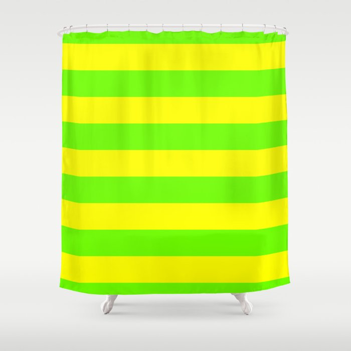 Bright Neon Green and Yellow Horizontal Cabana Tent Stripes Shower Curtain