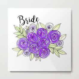 Bride Wedding Bridal Purple Violet Lavender Roses Watercolor Metal Print