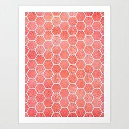 Coral Pink Honeycomb Art Print