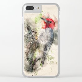 Red Headed Woodpecker Clear iPhone Case