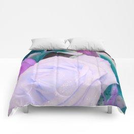 Lavender Teal Flowers Comforters