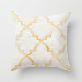 White Gold Marble Moraccan Style Pattern Throw Pillow