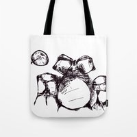 drums Tote Bags featuring Drums by Jake Stanton