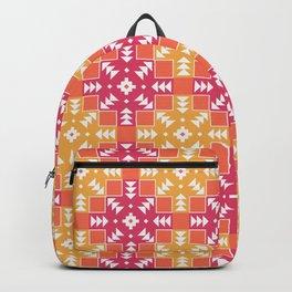 Pink and Orange Detailed Geometric Aztec Digital Pattern Backpack