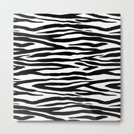 Zebra StripesPattern Black And White Metal Print
