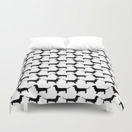 Dachshund Black and White Pattern Duvet Cover