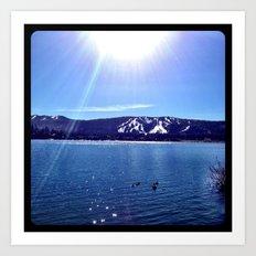 Sun on the lake. Art Print