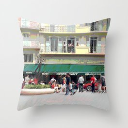 Activity in the Town Square Throw Pillow