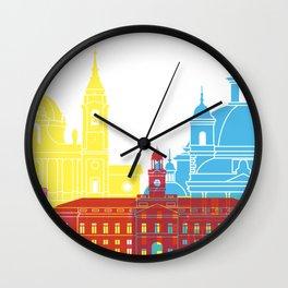 Madrid V2 skyline pop Wall Clock
