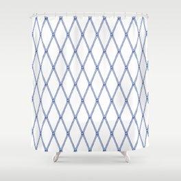 Nautical Fishing Net (White and Navy) Shower Curtain