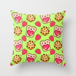 Cute funny sweet adorable happy Kawaii toast with raspberry jam and butter, chocolate chip cookies, red ripe summer strawberries cartoon fantasy lime green pattern design Throw Pillow