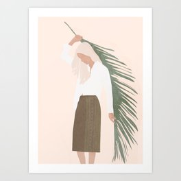 Holding a Palm Leaf Art Print
