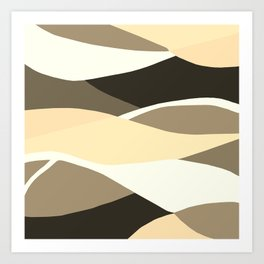 Beige Brown and Taupe Abstract Art Print