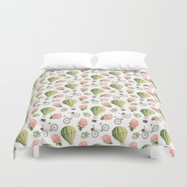 Bicycles Roses and Balloons Pattern Duvet Cover