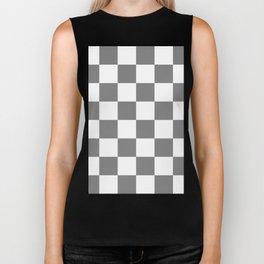 Large Checkered - White and Gray Biker Tank