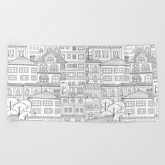 Doodle town pattern Beach Towel