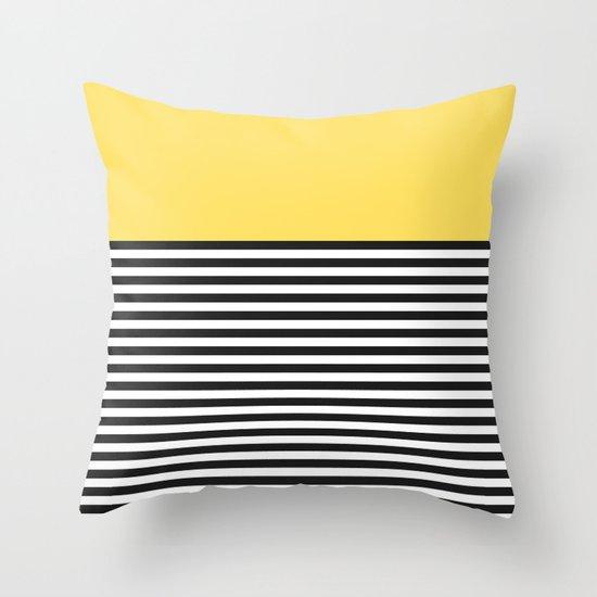 STRIPE COLORBLOCK {LEMON} Throw Pillow