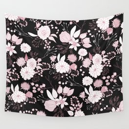 Blush pink white black rustic abstract floral illustration Wall Tapestry