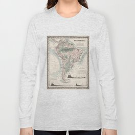 Vintage Map of South America (1858) Long Sleeve T-shirt