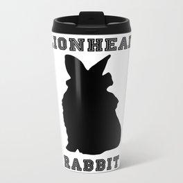Lionhead Rabbit Silhouette Metal Travel Mug