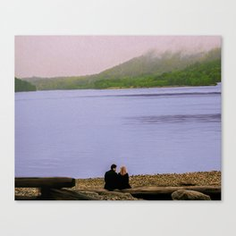 Conversation on the log - oil color painting Canvas Print