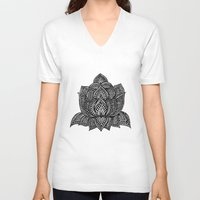 lotus flower V-neck T-shirts featuring Lotus by Luna Portnoi