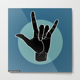 ILY - I Love You - Sign Language - Black on Green Blue 07 Metal Print