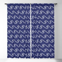 Wave Pattern | Waves | Nautical Patterns | Navy Blue and White | Blackout Curtain